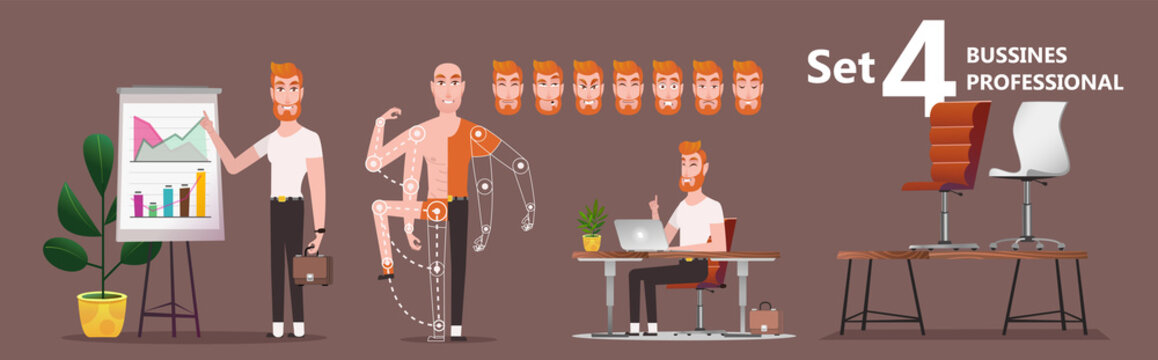 Young Cartoon businessman making presentation explaining charts. A young man employee of the company presents the results of work. Set of poses and emotions of man and interior for animation - vector