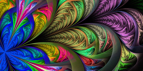 Beautiful multicolored fractal flower. Collection - frosty pattern. You can use it for invitations, notebook covers, phone case, postcards, cards, wallpapers. Artwork for creative design, art.