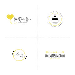 Romantic logo templates set. Vector hand drawn objects.