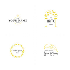 Romantic logo templates set. Vector hand drawn objects.