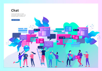 Concept Landing page template, flat style, businessmen discuss social network, news, social networks, chat, dialogue speech bubbles, new projects