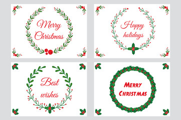 Christmas greeting cards, wreaths with calligraphy. Handwritten