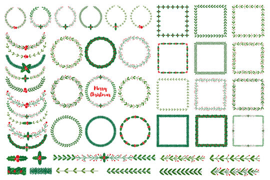 Set of New year, Christmas doodle hand drawn pattern brushes and wreath frames