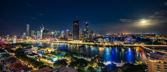 Aerial view of the South Bank fireworks during Christmas, Brisbane, Australia, 2018