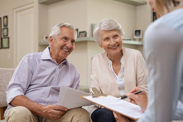 Senior couple meeting financial advisor