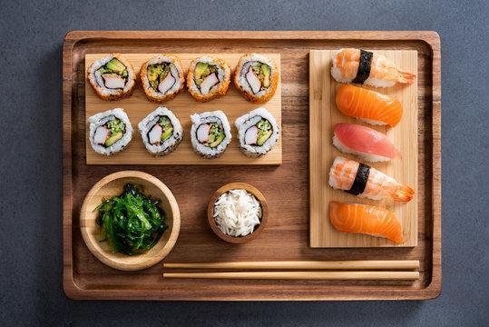 Sushi set on bamboo tray