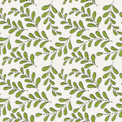 Embroidery floral seamless pattern on linen cloth texture