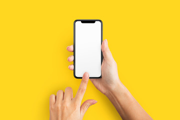 Mockup of female hand holding cell phone with blank screen Wall mural