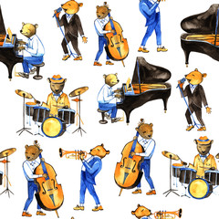 Watercolor jass band music. Seamless pattern. Illustration with bears musicians. Drummer, singer, pianist, double bass player, trumpeter