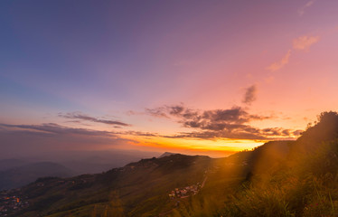 Mountain valley during sunrise. Natural summer, landscape.Beautiful landscape in the mountains at sunrise.