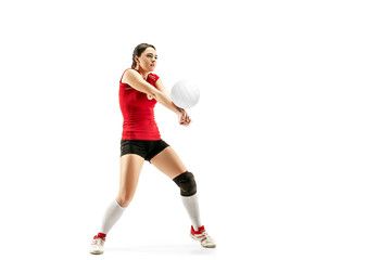 Female professional volleyball player isolated on white with ball. The athlete, exercise, action, sport, healthy lifestyle, training, fitness concept Wall mural