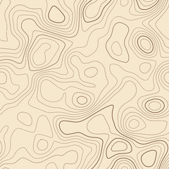 Topographic map lines. Actual topographic map. Seamless design, emotional tileable isolines pattern. Vector illustration.