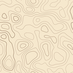 Contour lines. Actual topographic map. Seamless design, artistic tileable isolines pattern. Vector illustration.