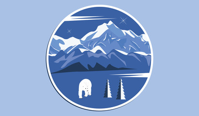 Icon round - Snow-covered mountains, polar bear - isolated on blue background - art vector