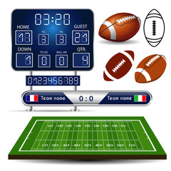 American Football field with scoreboard, balls