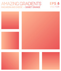 Colorful gradients in macaroni and cheese, sunset orange color tones. Adorable gradient background, overwhelming vector illustration.