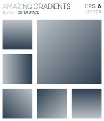 Colorful gradients in silver, outer space color tones. Adorable gradient background, optimal vector illustration.