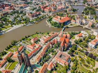 Wall Mural - Aerial view of historic Ostrow Tumski, Wroclaw, Poland