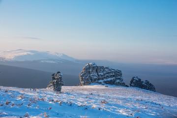 Weathering posts on the Manpupuner plateau, Komi Republic, Russia