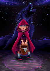 Wall Murals kids room The initiation of Red Riding Hood
