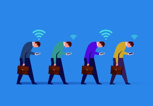 Group of businessmen walking down holding mobile phones