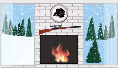 The interior of the room - a fireplace with bright fire - the view from the windows on the falling snow and spruce forest, hunting attributes - vector. Winter vacation.