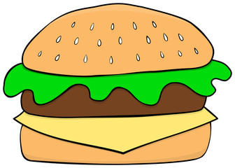 Cartoon hamburger icon. Hand drawn style.