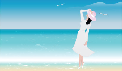 Woman on the seashore - hat, dress with a long sleeve - illustration, vector