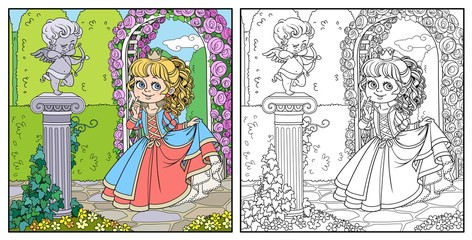 Lovely princess in park with statue of a cupid archer standing on column entwined with ivy color and outlined for coloring