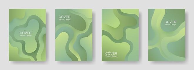 Gradient fluid shapes abstract covers vector set. Cool brochure backgrounds design. Organic bubble fluid splash shapes, oil drop molecular mixture concept backdrop. Cover templates.