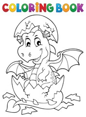 Wall Murals For Kids Coloring book dragon hatching from egg 1