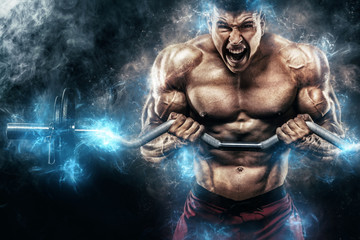 Brutal strong muscular bodybuilder athletic man pumping up muscles with barbell on black background. Workout bodybuilding concept. Copy space for sport nutrition ads. Wall mural