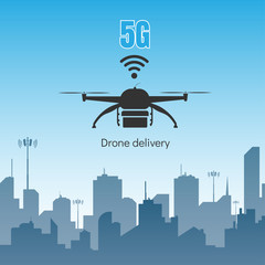 Drone delivery with 5G internet high speed concept