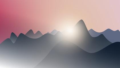 a sunrise over a mountain peak