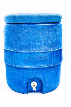 Close up of blue colored water cooler isolated on white.;