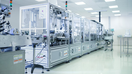 Shot of Sterile Precision Manufacturing Laboratory with 3D Printers, Super Computers and other Electrical Equipment and Machines suitable for Pharmaceutics, Biotechnology and Semiconductor Researches. Wall mural