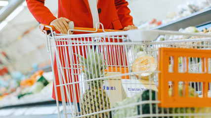 At the Supermarket / Shopping Mall: Low Angle Shot of the Woman Pushing Shopping Cart Full of Grosceries and Organic Fresh Vegetables.
