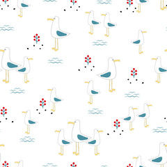 seamless pattern seagulls