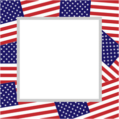 US flags abstract border with empty space for your text and images.