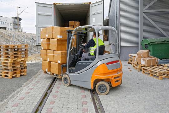 Cargo Train Loading Forklift