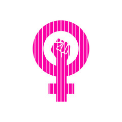 Icono plano símbolo feminista con puño en color rosa con lineas verticales en color blanco
