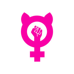 Icono plano feminismo con orejas de gato y puño en color rosa