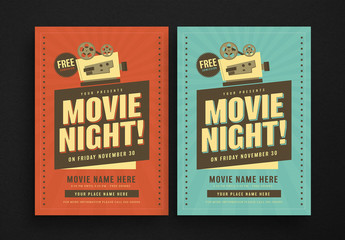 Retro Movie Night Flyer Layout
