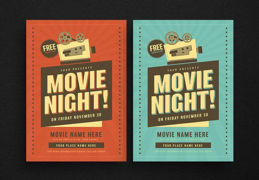 Retro Movie Night Flyer Layout