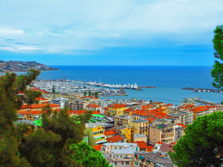 view port of San Remo (San Remo) and of the city on  Azure Italian Riviera, province of Imperia, Western Liguria, Italy