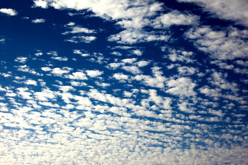 Blue sky background with a tiny clouds. Sunny day