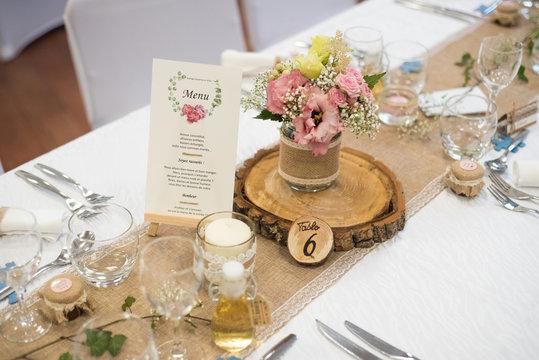 Décoration de table de mariage, thème campagne