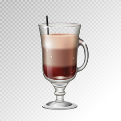 Realistic cocktail irish coffee glass vector illustration on transparent background