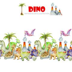 Cute dinosaurs watercolor illustration