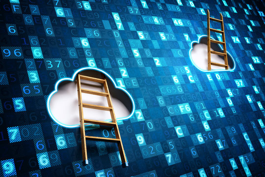 Network cloud computing and big data access technology concept, a wooden staircase entering one cloud and stick up from another on a blue digital data background